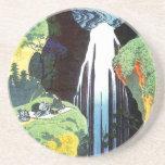 Amida Waterfall, Hokusai Japanese Fine Art Drink Coaster