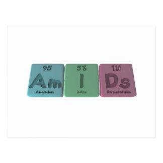 Amids-Am-I-Ds-Americium-Iodine-Darmstadtium Postcard