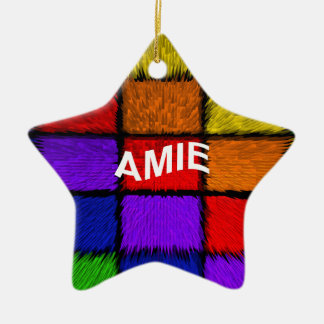AMIE ( female names ) Double-Sided Star Ceramic Christmas Ornament