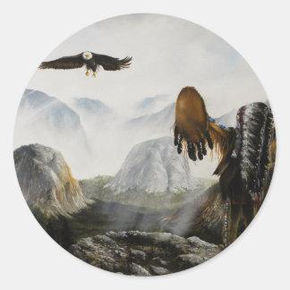 Amigo agradable de Painting~ del nativo americano Pegatina Redonda
