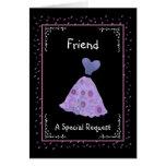 AMIGO - dama de honor - vestido florecido púrpura Felicitaciones