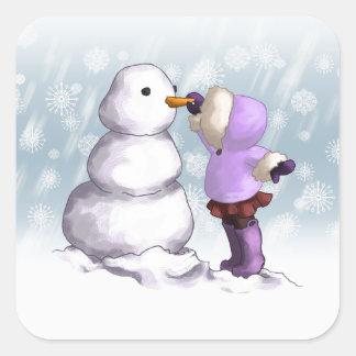 Amigo de la nieve calcomanías cuadradases
