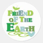 Amigo de la tierra pegatina redonda