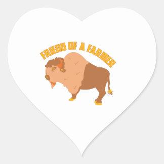 Amigo de un granjero calcomania corazon personalizadas