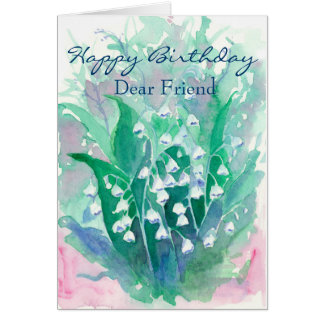 Amigo del feliz cumpleaños del lirio de los valles tarjeta de felicitación