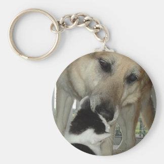 Amigo del pastor alemán y del gatito llaveros personalizados