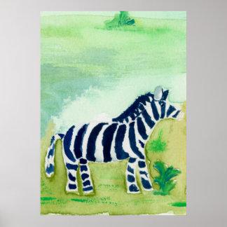 Amigo del safari de la cebra posters
