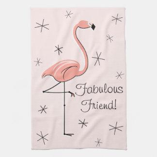 ¡Amigo fabuloso rosado del flamenco! toalla de