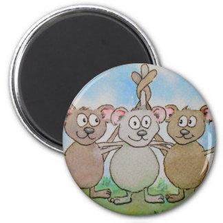 Amigo unido de la familia de tres ratones soporte  imán redondo 5 cm
