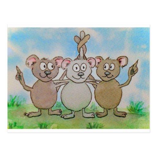 Amigo unido de la familia de tres ratones soporte postales
