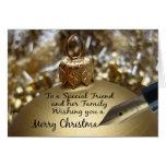 Amigo y su tarjeta de las Felices Navidad de la