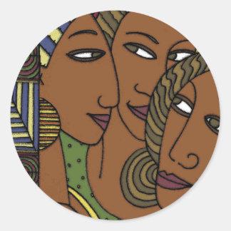 Amigos afroamericanos de la hermana de las mujeres pegatina redonda