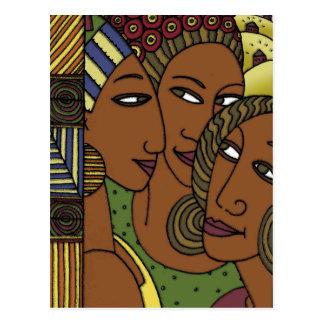 Amigos afroamericanos de la hermana de las mujeres postales