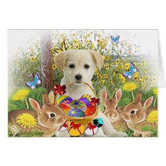 Amigos amarillos de Pascua del labrador retriever Felicitación