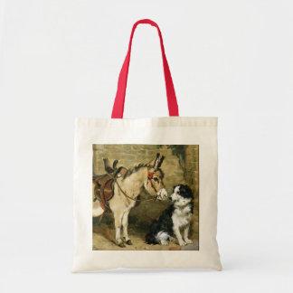 Amigos animales del perro y del burro - arte del v bolsa lienzo