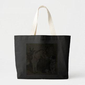 Amigos animales del perro y del burro - arte del v bolsa de mano