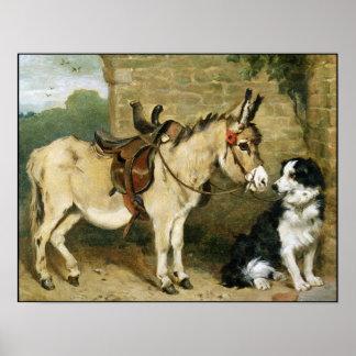 Amigos animales del perro y del burro - sello gran posters