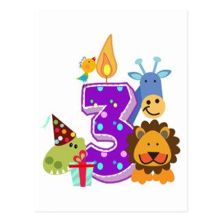 Amigos animales del tercer cumpleaños de la selva postal