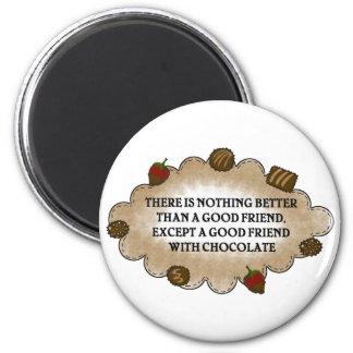 Amigos con el chocolate imán para frigorifico