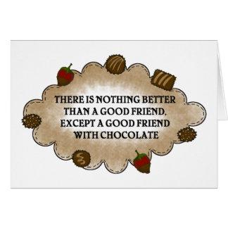 Amigos con el chocolate tarjeta de felicitación
