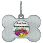 Amigos de la conciencia del autismo placas de mascota