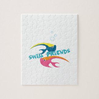 Amigos de la nadada rompecabezas con fotos