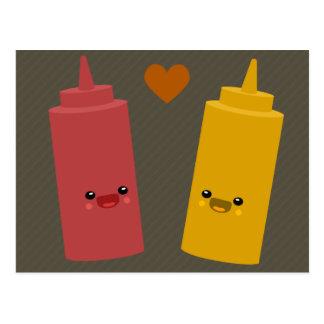 Amigos de la salsa de tomate y de la mostaza tarjeta postal