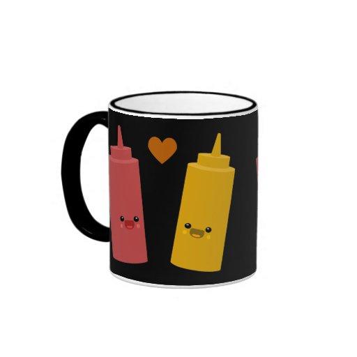 Amigos de la salsa de tomate y de la mostaza taza de dos colores