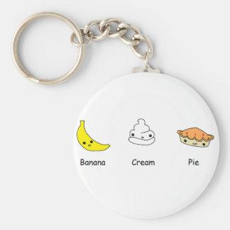 Amigos de la tarta de crema del plátano llavero personalizado