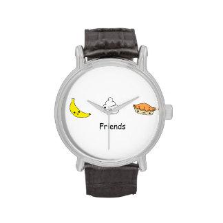 Amigos de la tarta de crema del plátano relojes de pulsera