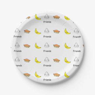 Amigos de la tarta de crema del plátano plato de papel 17,78 cm