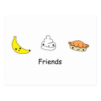 Amigos de la tarta de crema del plátano postal