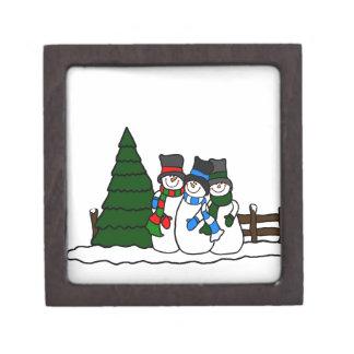 Amigos de los muñecos de nieve del invierno del cajas de joyas de calidad