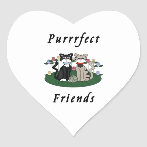 Amigos de Purrrfect del gato Calcomania Corazon Personalizadas