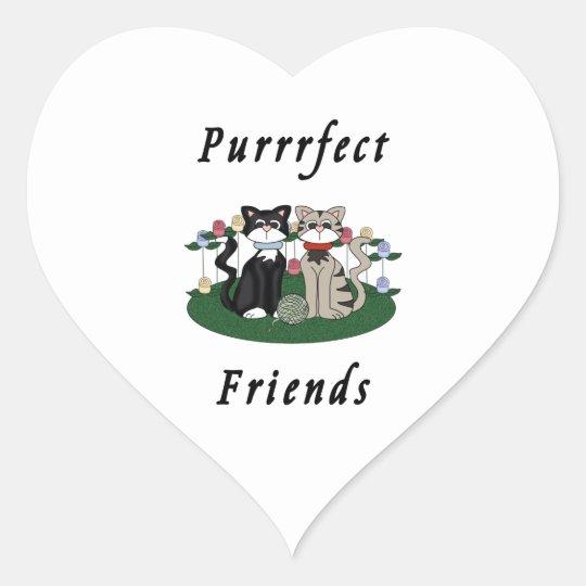 Amigos de Purrrfect del gato Pegatina En Forma De Corazón