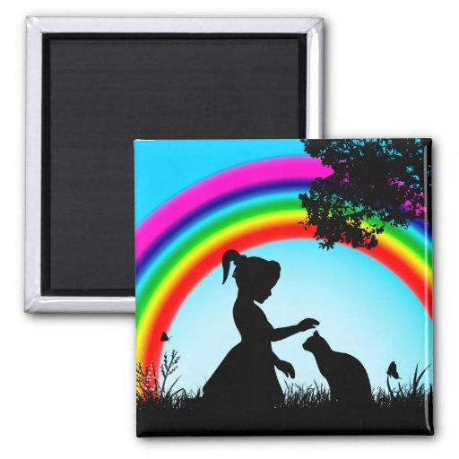 Amigos debajo del arco iris imán cuadrado
