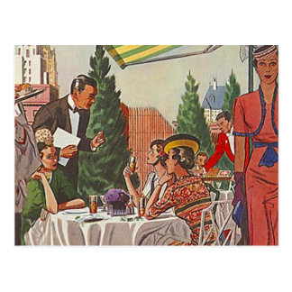 Amigos del alumerzo del té de tarde del vintage de postales