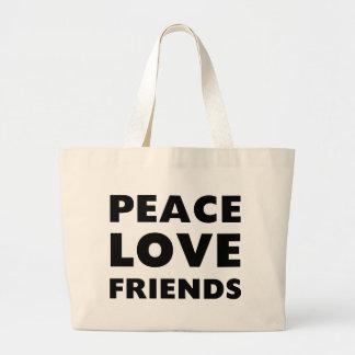 Amigos del amor de la paz bolsa de tela grande