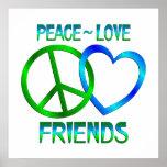 Amigos del amor de la paz impresiones