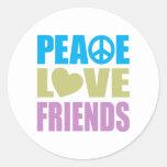 Amigos del amor de la paz pegatina