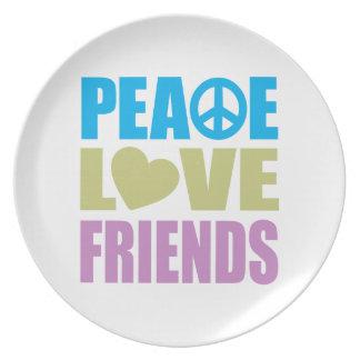 Amigos del amor de la paz plato de cena