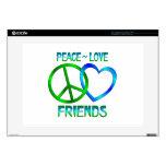 Amigos del amor de la paz portátil calcomanía
