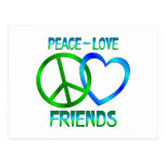 Amigos del amor de la paz tarjeta postal