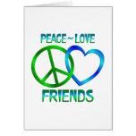 Amigos del amor de la paz tarjetas