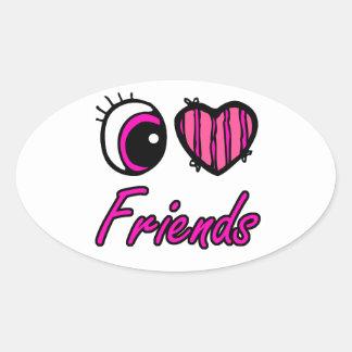 Amigos del amor del corazón I del ojo de Emo Colcomanias Óval Personalizadas