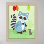 Amigos del bosque - mapache posters