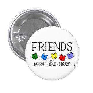 Amigos del botón de la biblioteca pública de Rahwa Pin Redondo De 1 Pulgada