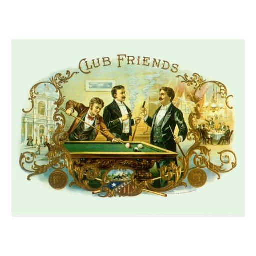 Amigos del club del arte de la etiqueta del cigarr tarjetas postales