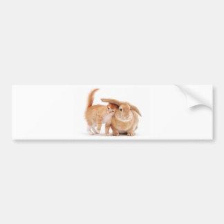 amigos del conejo de conejito del gatito cute_funn pegatina para auto