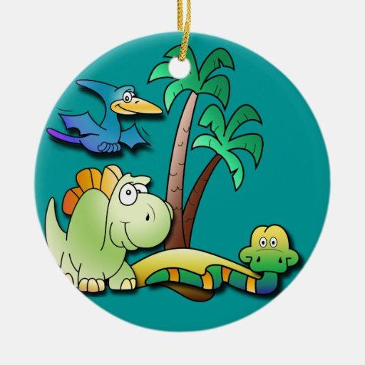 Amigos del dinosaurio adorno navideño redondo de cerámica